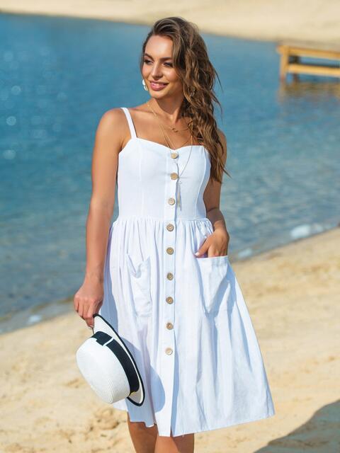Сарафан приталенного силуэта с карманами белый - 38713, фото 1 – интернет-магазин Dressa