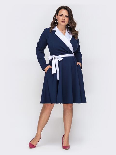 Темно-синее платье батал с контрастными воротником 49861, фото 1