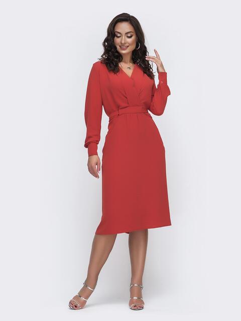 Терракотовое платье батал с отложным воротником и карманами 49982, фото 1