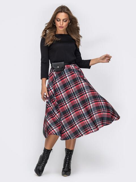 Трикотажное платье с юбкой из костюмной ткани чёрное 42008, фото 1