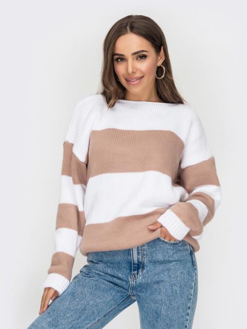 Вязаный полосатый свитер пудрового цвета 53593, фото 1
