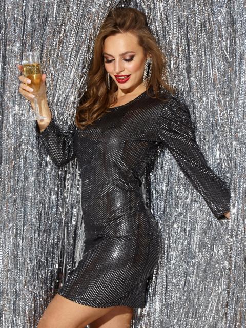 Платье-миди из трикотажа с пайетками чёрного цвета 42783, фото 1