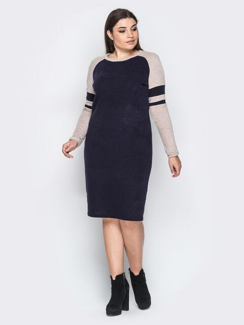 Ангоровое платье с рукавом реглан тёмно-синее - 18364, фото 1 – интернет-магазин Dressa