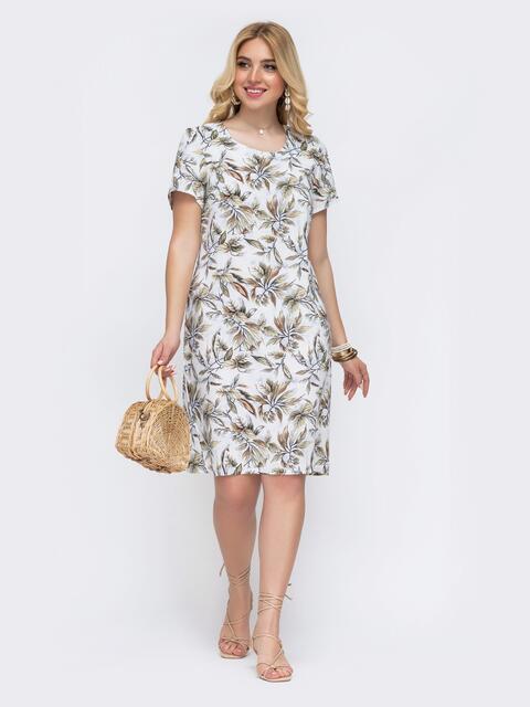 Белое платье батал прямого кроя с принтом 49292, фото 1