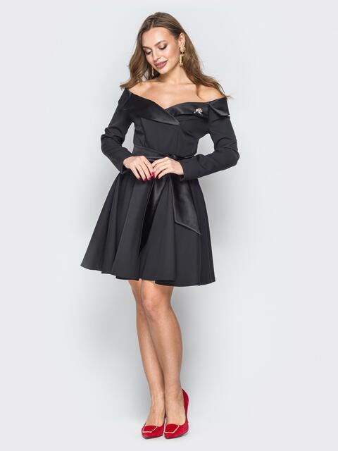 Чёрное платье с открытыми плечами и юбкой-клёш - 19825, фото 1 – интернет-магазин Dressa