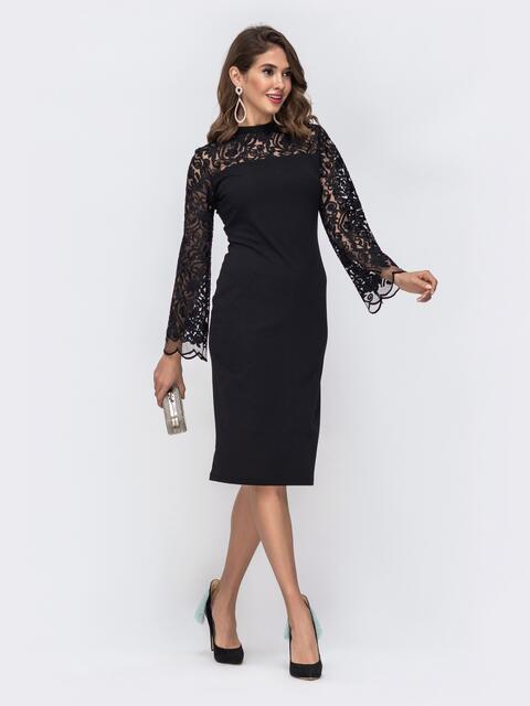 Чёрное платье с рукавами и кокеткой из сетки с узором 42778, фото 1