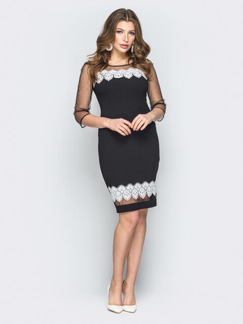 7bb62f257fb Чёрное платье с вышивкой и кокеткой из фатина 19556 – купить в Киеве ...