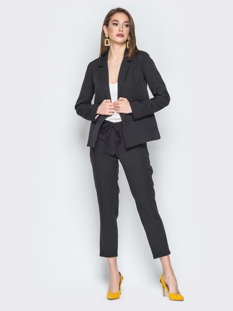 Чёрный комплект из жакета и укороченных брюк - 19791, фото 1 – интернет-магазин Dressa