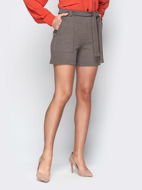 Коричневые шорты с накладными карманами и поясом - 20645, фото 1 – интернет-магазин Dressa