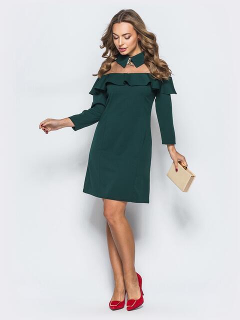 Платье черного цвета с фатиновой кокеткой и брошью - 17877, фото 1 – интернет-магазин Dressa