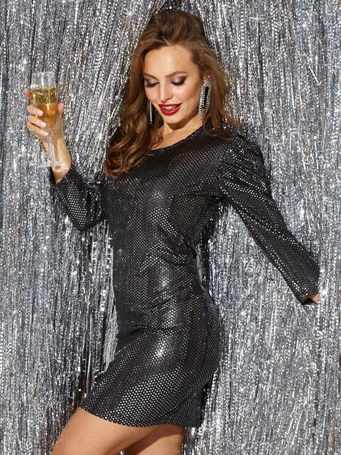 Платье-миди из трикотажа с пайетками чёрного цвета - 42783, фото 1 – интернет-магазин Dressa