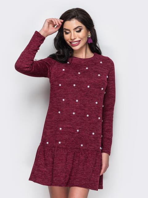 Платье с бусинами и воланом по низу бордовое - 13752, фото 2 – интернет-магазин Dressa