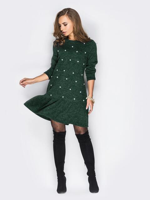 Платье с бусинами и воланом по низу зелёное - 13753, фото 1 – интернет-магазин Dressa