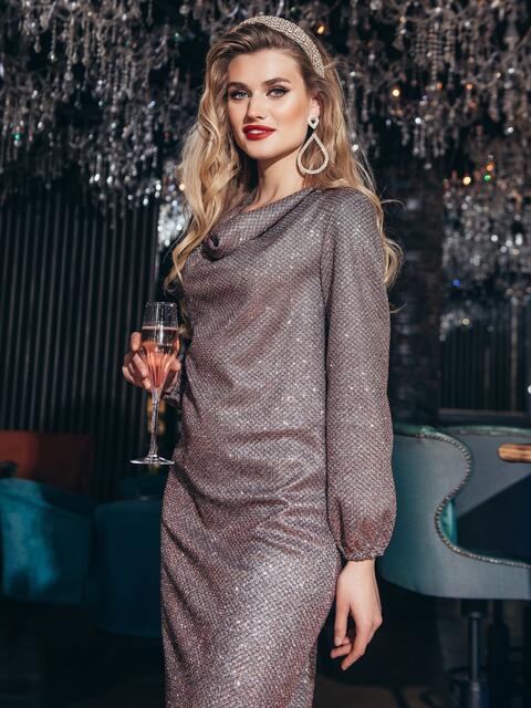 Платье с мерцающим напылением и воротником-хомут красное - 42771, фото 1 – интернет-магазин Dressa