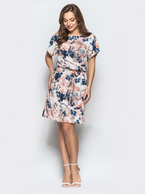 f10b20a62e7 Платье с принтом и эластичной деталью в поясе коричневое - 21487