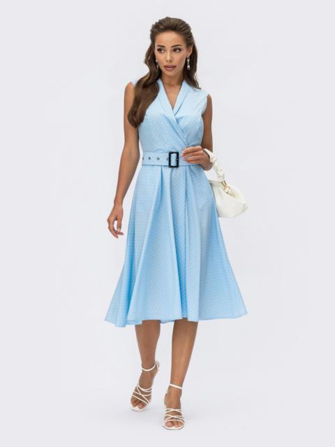 Расклешенное платье в горох с поясом голубое 54320, фото 1
