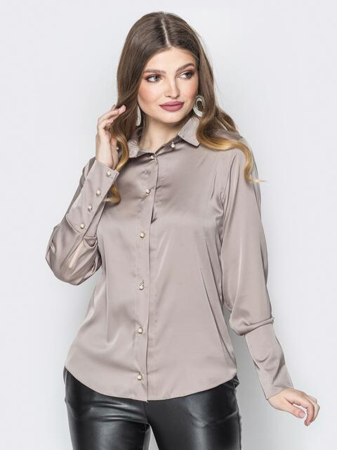 Серая шелковая блузка с пуговицами на широких манжетах - 19777, фото 1 – интернет-магазин Dressa