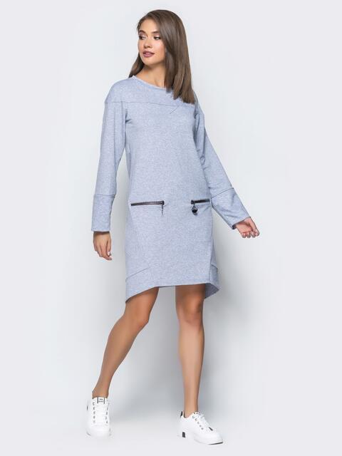 Серая туника с карманами на молнии - 16247, фото 1 – интернет-магазин Dressa