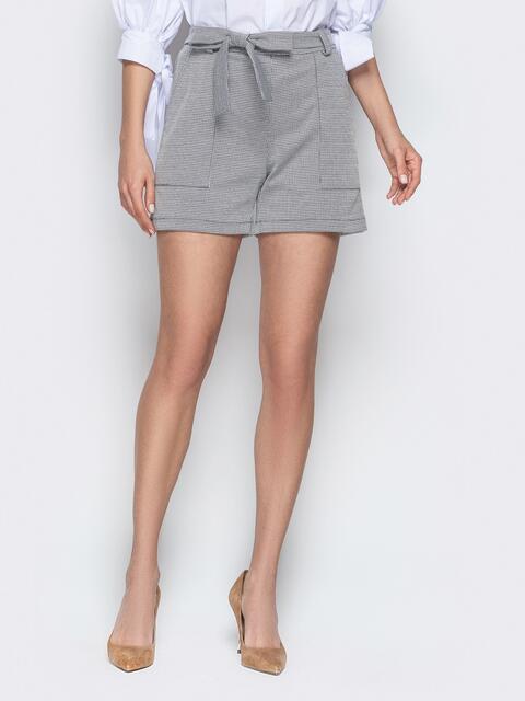 Серые шорты с накладными карманами и поясом - 20644, фото 1 – интернет-магазин Dressa