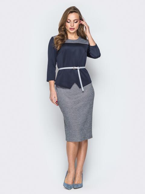 Серый комплект с кофтой и юбкой-карандаш - 19400, фото 1 – интернет-магазин Dressa