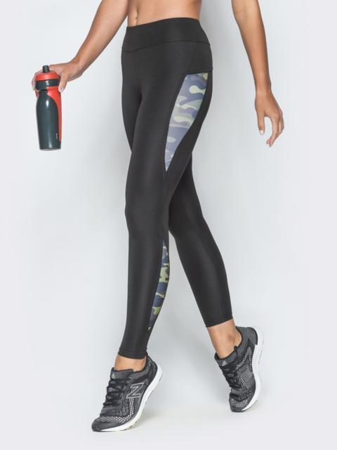 Спортивные лосины с принтованными вставками чёрные - 38792, фото 1 – интернет-магазин Dressa