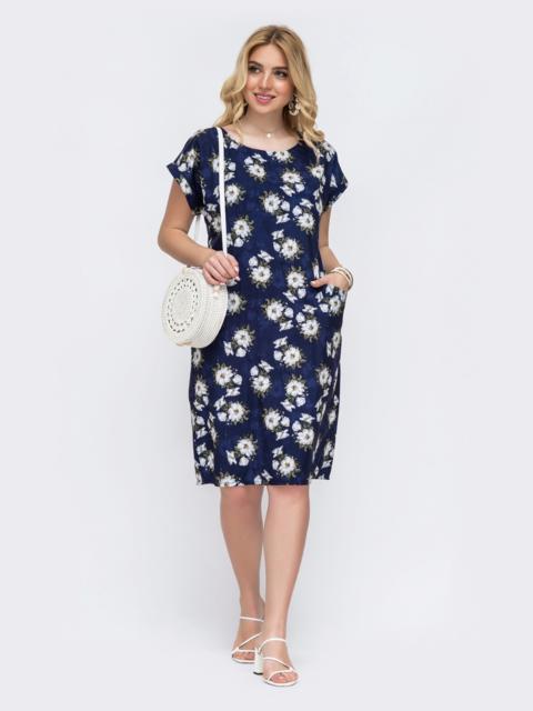 Темно-синее платье батал прямого кроя с цветочным принтом 49290, фото 1