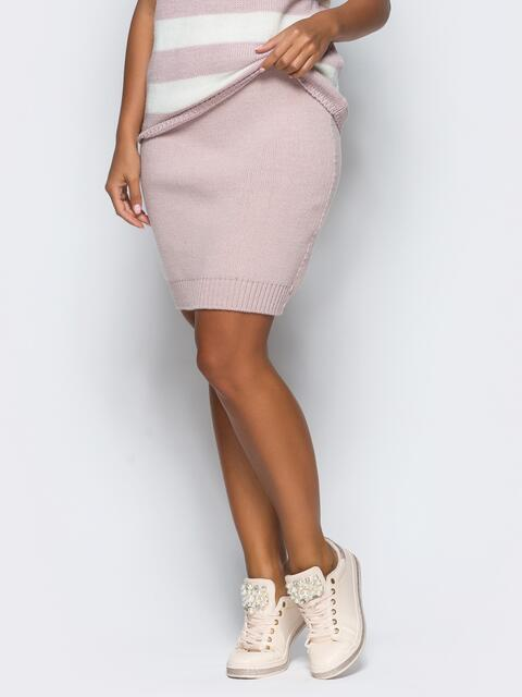 Юбка розового цвета мелкой вязки - 17125, фото 1 – интернет-магазин Dressa