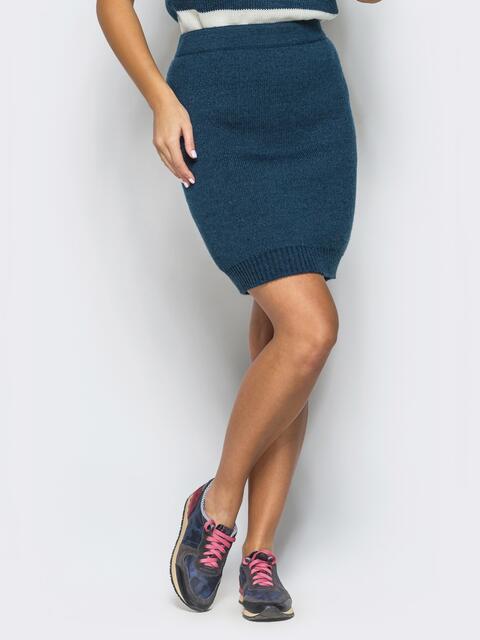 Юбка тёмно-синего цвета мелкой вязки - 17124, фото 1 – интернет-магазин Dressa
