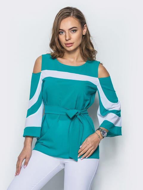 Зелёная блузка с открытыми плечами и рукавами-клёш - 12199, фото 1 – интернет-магазин Dressa