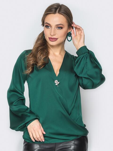 Зелёная шелковая блузка на запах - 19775, фото 1 – интернет-магазин Dressa
