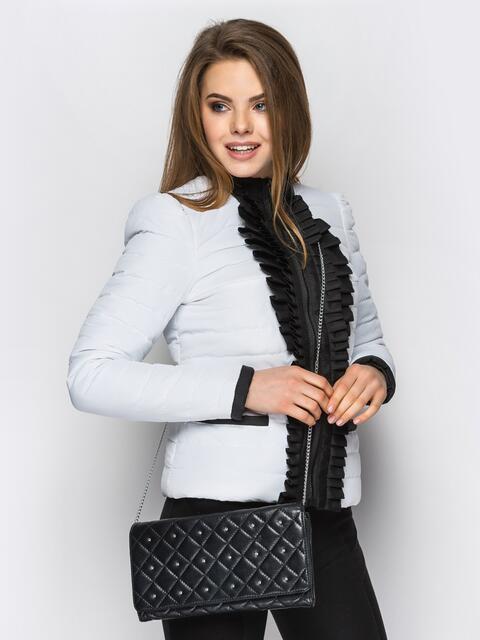 Белая куртка с контрастной рюшей на полочке - 12940, фото 1 – интернет-магазин Dressa