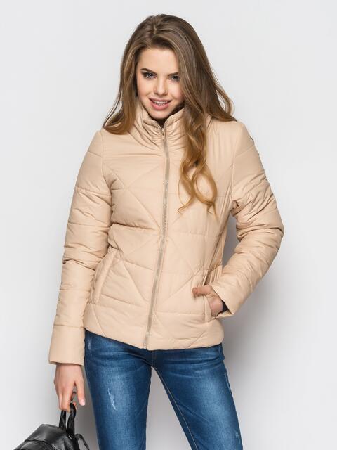 Бежевая куртка на силиконе с высоким воротником 12931, фото 1