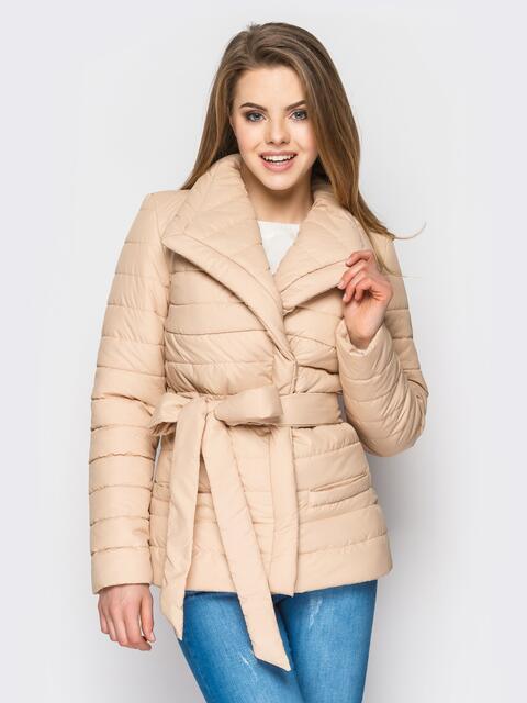 Бежевая куртка с потайными кнопками на полочке - 12946, фото 1 – интернет-магазин Dressa