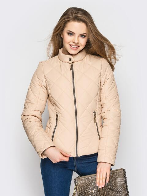 Бежевая куртка с воротником на кнопке - 12936, фото 1 – интернет-магазин Dressa