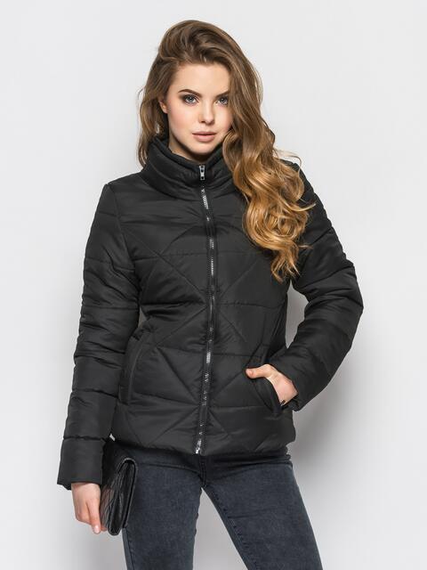 Черная куртка на силиконе с высоким воротником - 12928, фото 1 – интернет-магазин Dressa