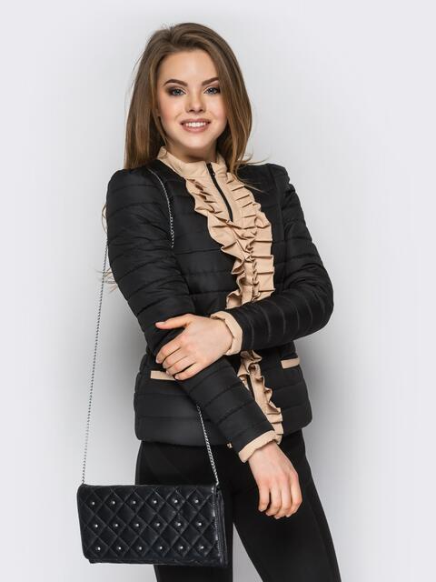 Черная куртка с контрастной рюшей на полочке - 12938, фото 1 – интернет-магазин Dressa