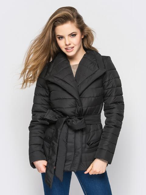 Черная куртка с потайными кнопками на полочке - 12942, фото 1 – интернет-магазин Dressa