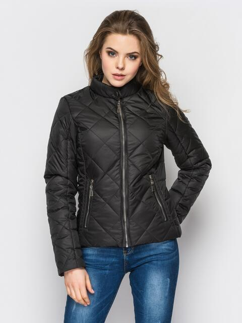 Черная куртка с воротником на кнопке - 12937, фото 1 – интернет-магазин Dressa