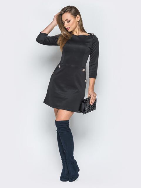 Чёрное платье-мини с пуговицами на карманах - 19251, фото 1 – интернет-магазин Dressa