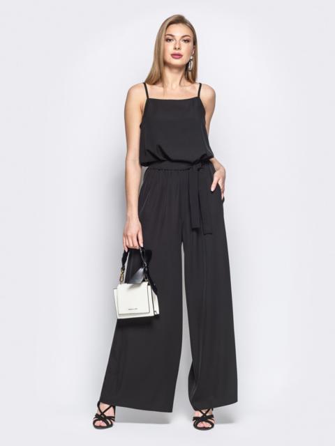 Комбинезон с брюками-палаццо и напуском по талии чёрный - 21771, фото 1 – интернет-магазин Dressa