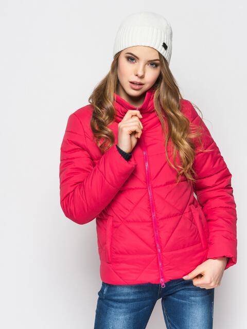 Розовая куртка на силиконе с высоким воротником - 12929, фото 1 – интернет-магазин Dressa