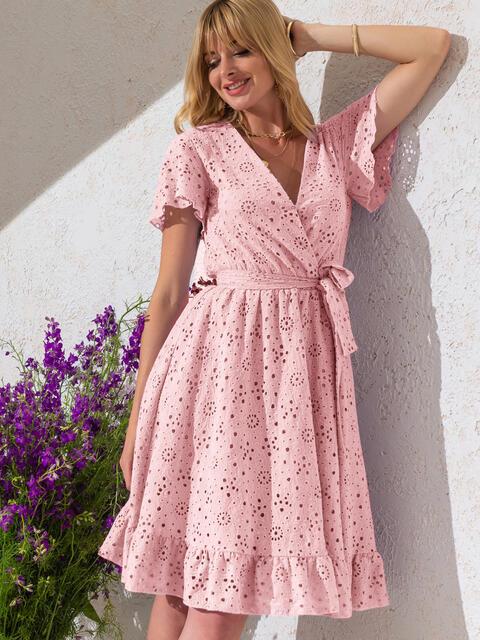 Розовое платье из прошвы с резинкой по талии 53901, фото 1