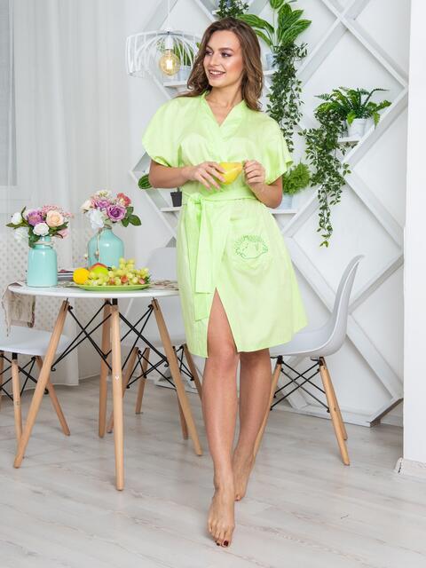 Салатовый халат с авторским принтом и вшитым поясом - 20433, фото 1 – интернет-магазин Dressa