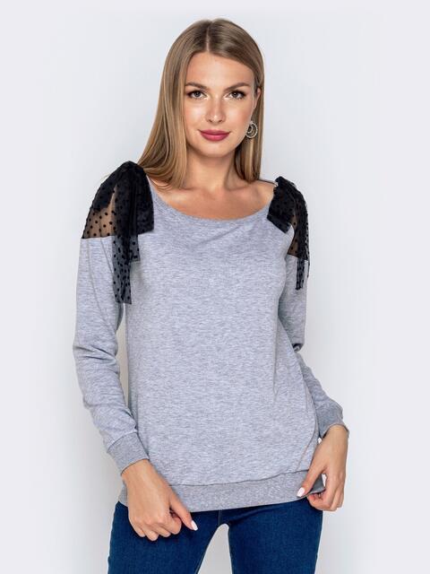 Серый свитшот с фатиновыми вставками на плечах 40879, фото 1