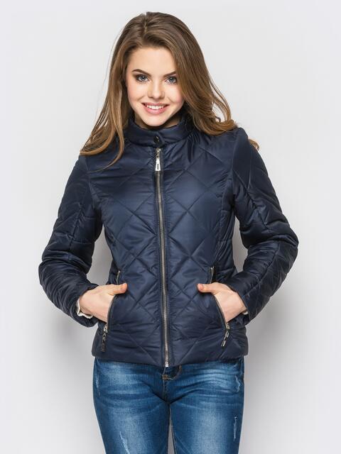 Тёмно-синяя куртка с воротником на кнопке - 12935, фото 1 – интернет-магазин Dressa