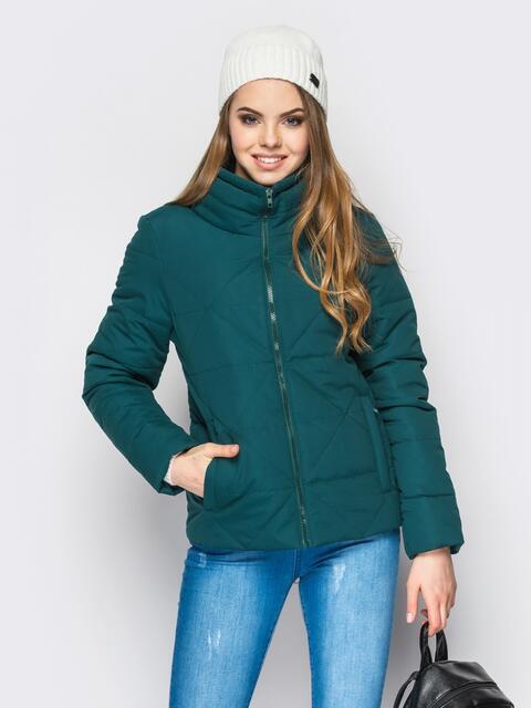 Зелёная куртка на силиконе с высоким воротником - 12930, фото 1 – интернет-магазин Dressa