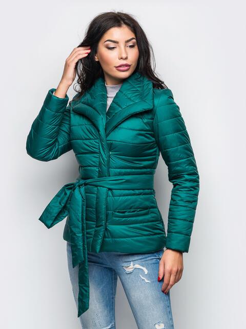Зелёная куртка с потайными кнопками на полочке 12945, фото 1