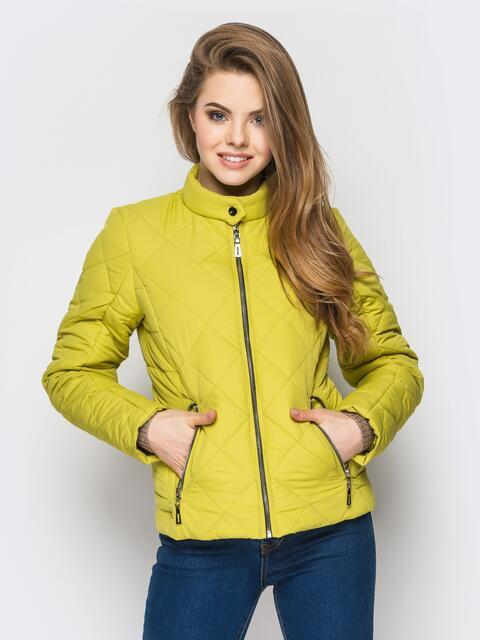 Зелёная куртка с воротником на кнопке - 12933, фото 1 – интернет-магазин Dressa