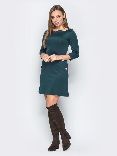 Зелёное платье-мини с пуговицами на карманах - 19250, фото 1 – интернет-магазин Dressa