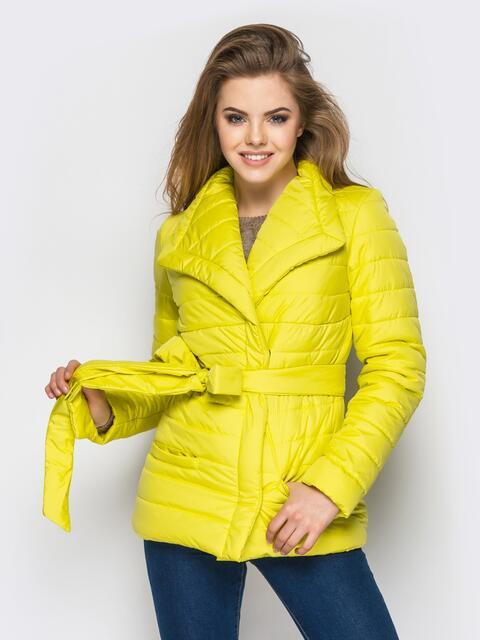 Желтая куртка с потайными кнопками на полочке - 12947, фото 1 – интернет-магазин Dressa